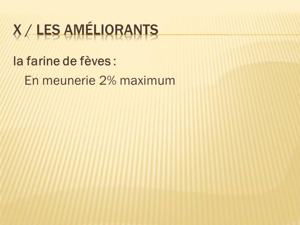 la farine de fèves : En meunerie 2% maximum