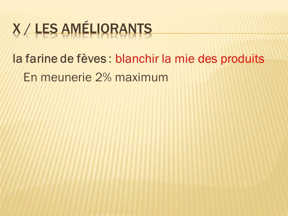 la farine de fèves : blanchir la mie des produits En meunerie 2% maximum