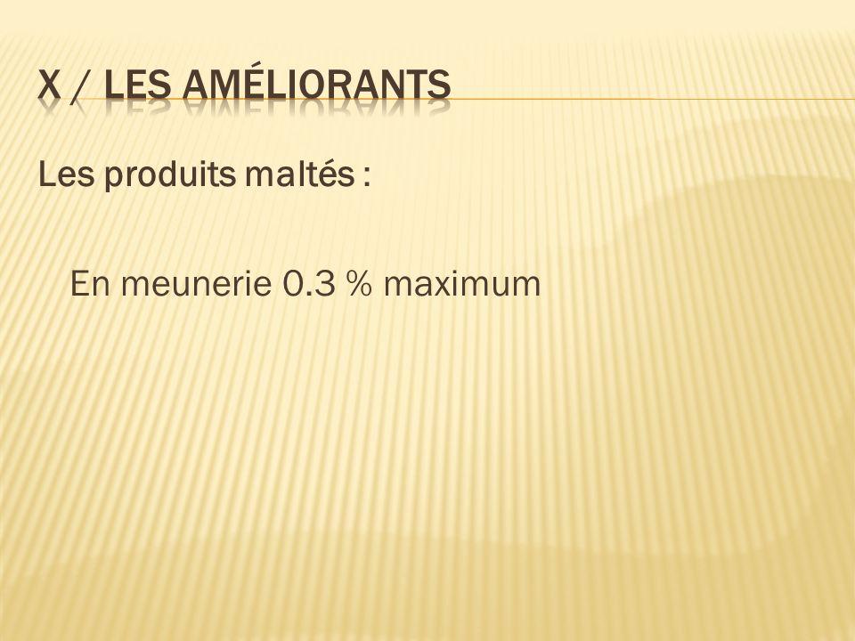 Les produits maltés : En meunerie 0.3 % maximum
