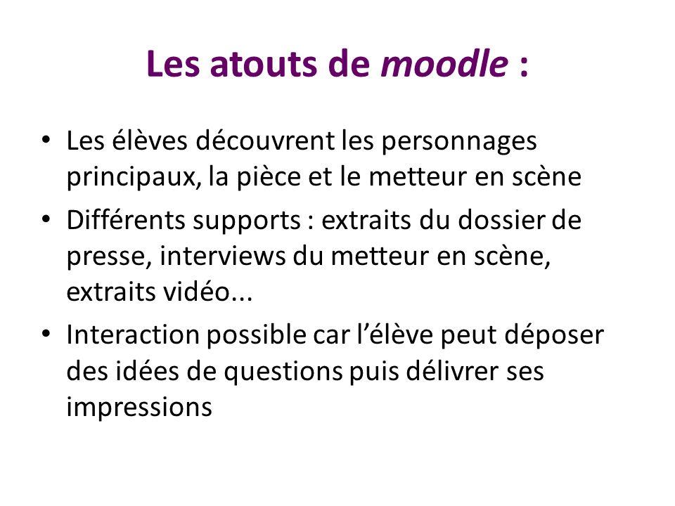 Les atouts de moodle : Les élèves découvrent les personnages principaux, la pièce et le metteur en scène Différents supports : extraits du dossier de