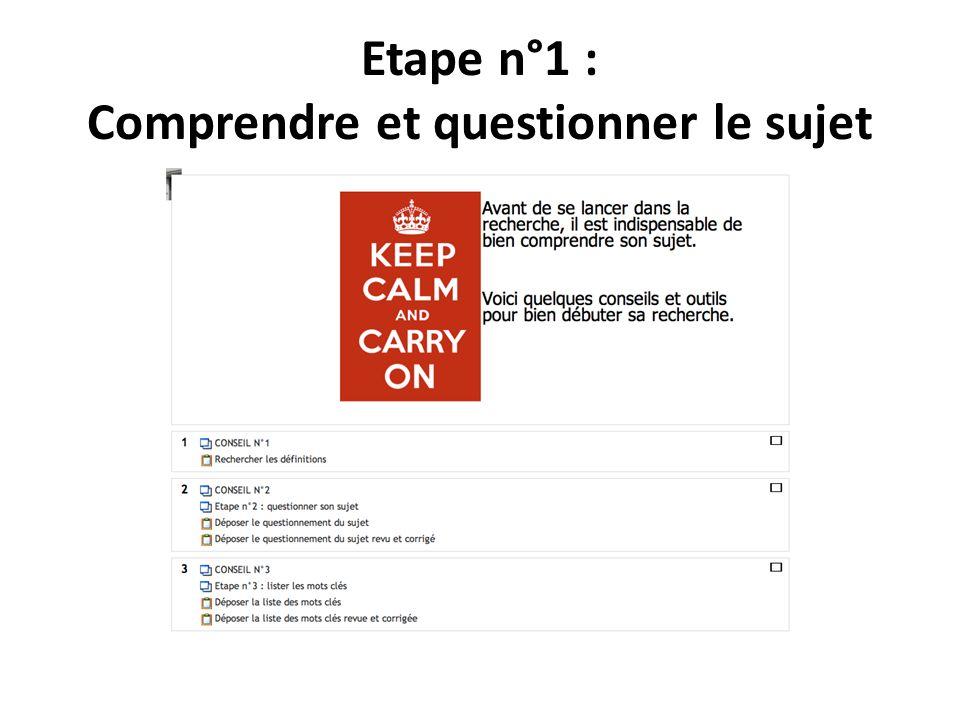 Etape n°1 : Comprendre et questionner le sujet