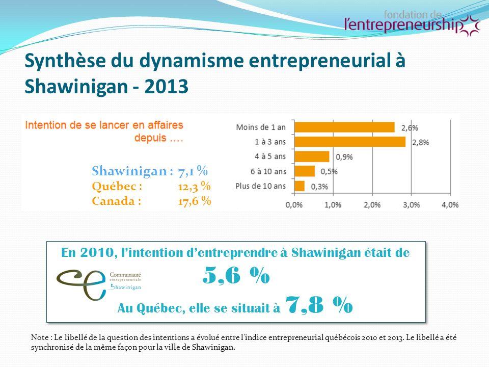 Synthèse du dynamisme entrepreneurial à Shawinigan - 2013 Shawinigan : 3,3 %