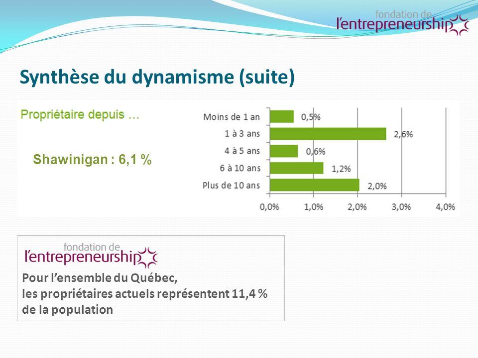 Synthèse du dynamisme (suite) Pour lensemble du Québec, la proportion de la population qui a déjà fermé une entreprise se situe à 10,4 % Shawinigan : 10,1 %