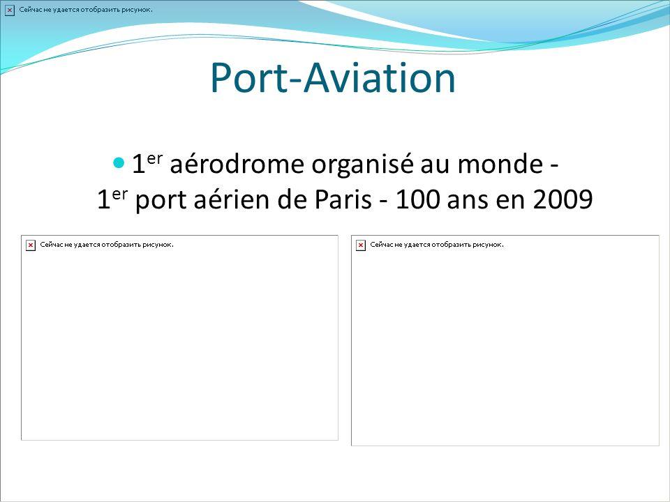 1 er aérodrome organisé au monde - 1 er port aérien de Paris - 100 ans en 2009 Port-Aviation
