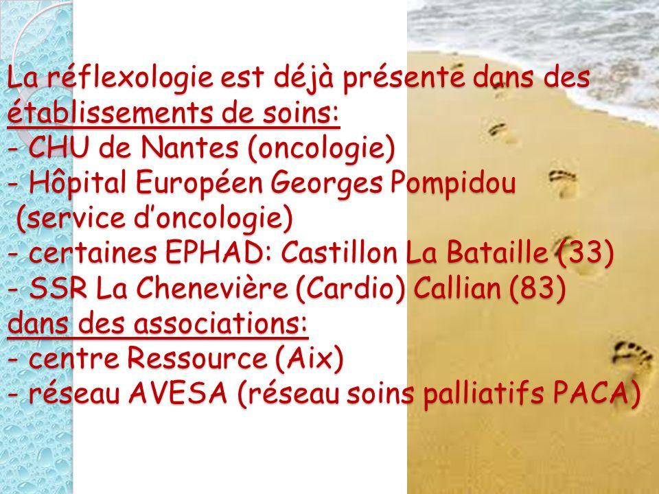 La réflexologie est déjà présente dans des établissements de soins: - CHU de Nantes (oncologie) - Hôpital Européen Georges Pompidou (service doncologi
