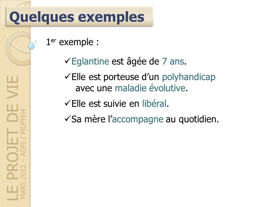 LE PROJET DE VIE MARS 2012 – AGPI / MDPH64 Quelques exemples 1 er exemple : Eglantine est âgée de 7 ans.
