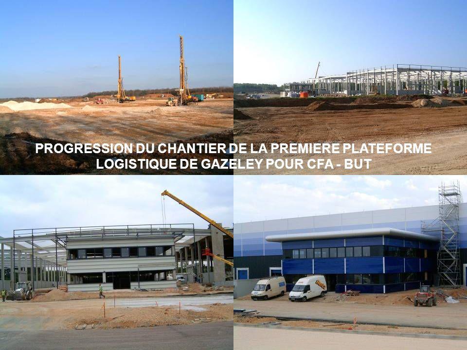 PROGRESSION DU CHANTIER DE LA PREMIERE PLATEFORME LOGISTIQUE DE GAZELEY POUR CFA - BUT