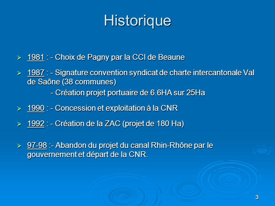 4 Historique (suite) 1999 : - Création du SMAP (Syndicat Mixte dAménagement de Pagny : région, département, cci Beaune,communes) 1999 : - Création du SMAP (Syndicat Mixte dAménagement de Pagny : région, département, cci Beaune,communes) 2003 : - Conclusion dun protocole avec la société GAZELEY pour le développement dun parc logistique « Magna Park Pagny » 2003 : - Conclusion dun protocole avec la société GAZELEY pour le développement dun parc logistique « Magna Park Pagny » - Réalisation embranchement ferré,RFF,SNCF - Réalisation embranchement ferré,RFF,SNCF 2004 : - Construction dun bâtiment de 23000 M2 pour CFA-BUT et des silos de stockage de Bourgogne céréales 2004 : - Construction dun bâtiment de 23000 M2 pour CFA-BUT et des silos de stockage de Bourgogne céréales 2005 : - 1° fluvio- maritime de bois pour lItalie 2005 : - 1° fluvio- maritime de bois pour lItalie - Construction par VNF dune plateforme à conteneurs avec les région Bourgogne,PACA et Rhône Alpes - Construction par VNF dune plateforme à conteneurs avec les région Bourgogne,PACA et Rhône Alpes - Signature avec les douanes formalités import-export depuis Pagny.