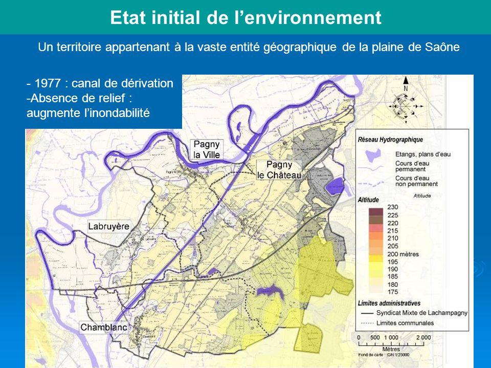 43 Etat initial de lenvironnement Un territoire appartenant à la vaste entité géographique de la plaine de Saône - 1977 : canal de dérivation -Absence