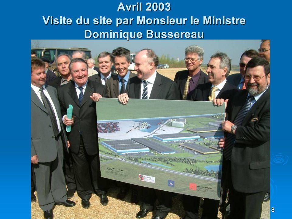 8 Avril 2003 Visite du site par Monsieur le Ministre Dominique Bussereau