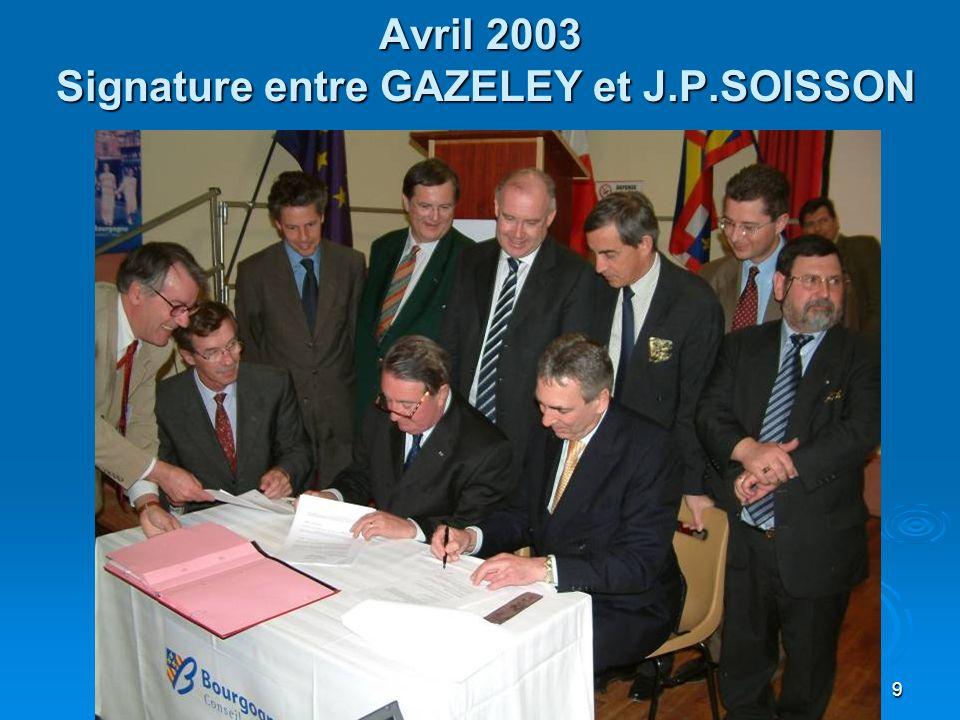 9 Avril 2003 Signature entre GAZELEY et J.P.SOISSON