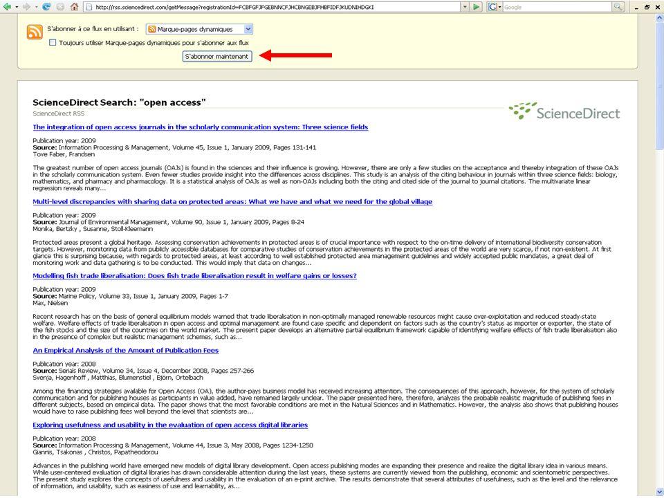 Alertes Il existe dautres types dalertes Alerte de recherche Alerte de publication Alerte de Citation (alerte lorsquun article cite larticle selectionné)