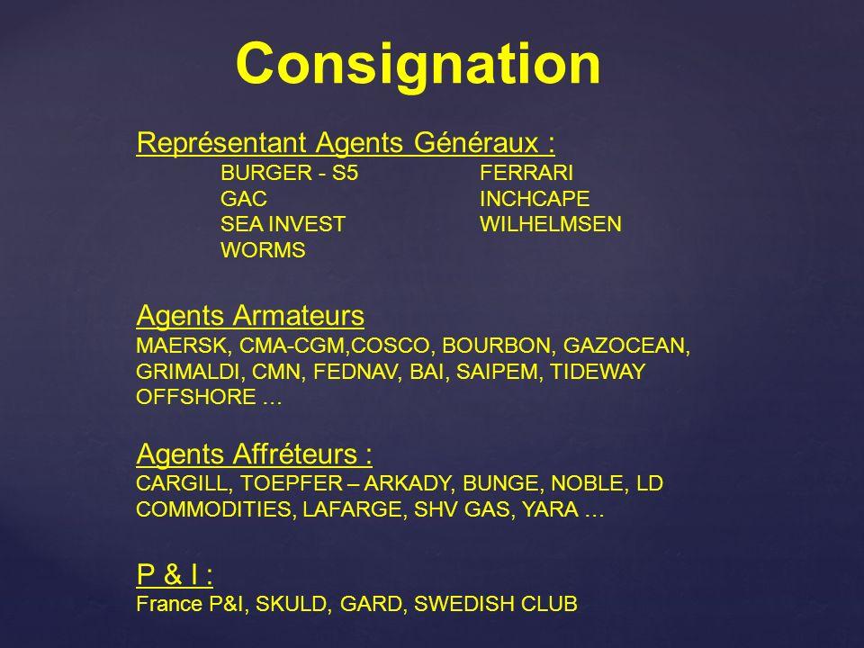 Représentant Agents Généraux : BURGER - S5FERRARI GACINCHCAPE SEA INVESTWILHELMSEN WORMS Agents Armateurs MAERSK, CMA-CGM,COSCO, BOURBON, GAZOCEAN, GR