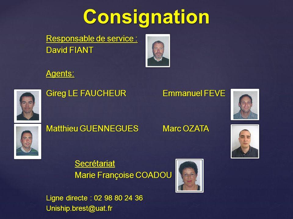 Consignation Responsable de service : David FIANT Agents: Gireg LE FAUCHEUREmmanuel FEVE Matthieu GUENNEGUESMarc OZATA Secrétariat Marie Françoise COA