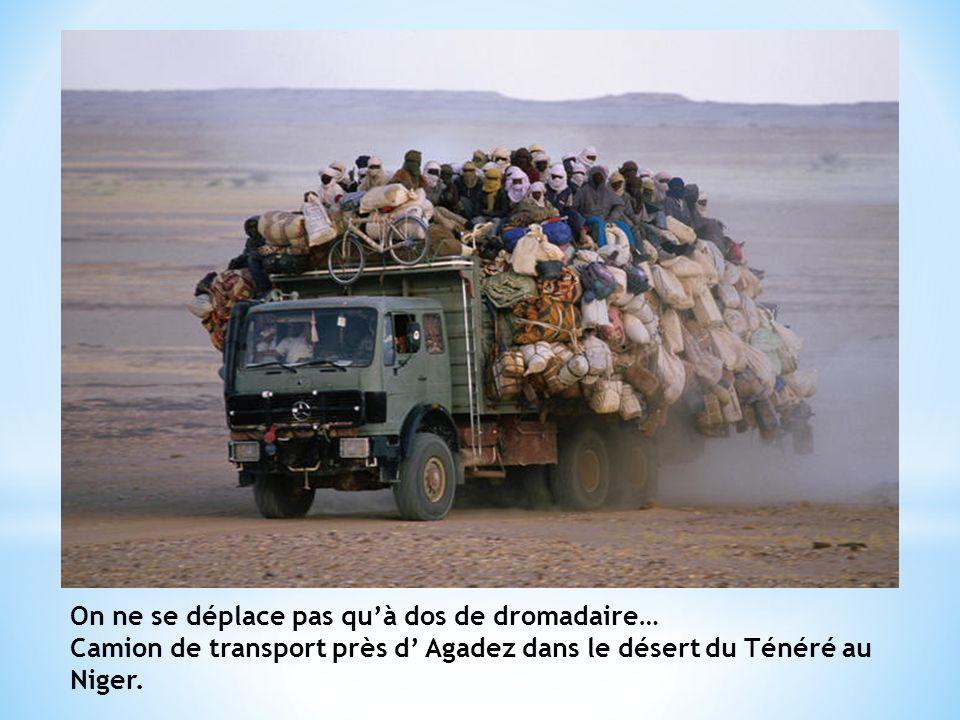 On ne se déplace pas quà dos de dromadaire… Camion de transport près d Agadez dans le désert du Ténéré au Niger.
