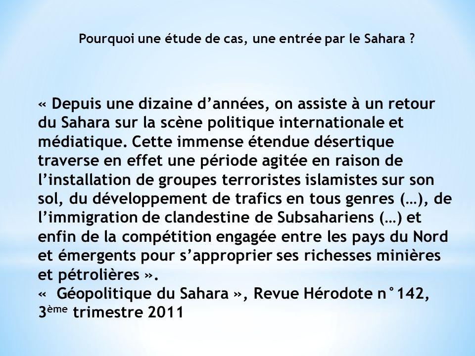 Pourquoi une étude de cas, une entrée par le Sahara .