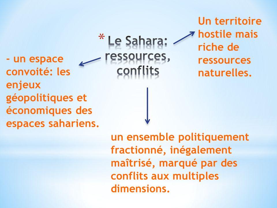 - un espace convoité: les enjeux géopolitiques et économiques des espaces sahariens.