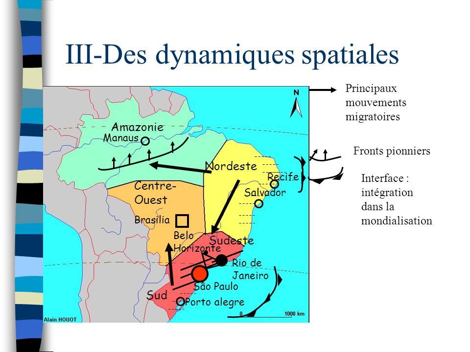 III-Des dynamiques spatiales Nordeste Sudeste Sud Centre- Ouest Amazonie Sâo Paulo Rio de Janeiro Belo Horizonte Recife Salvador Porto alegre Brasilia