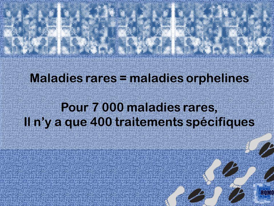 Maladies rares = maladies orphelines Pour 7 000 maladies rares, Il ny a que 400 traitements spécifiques