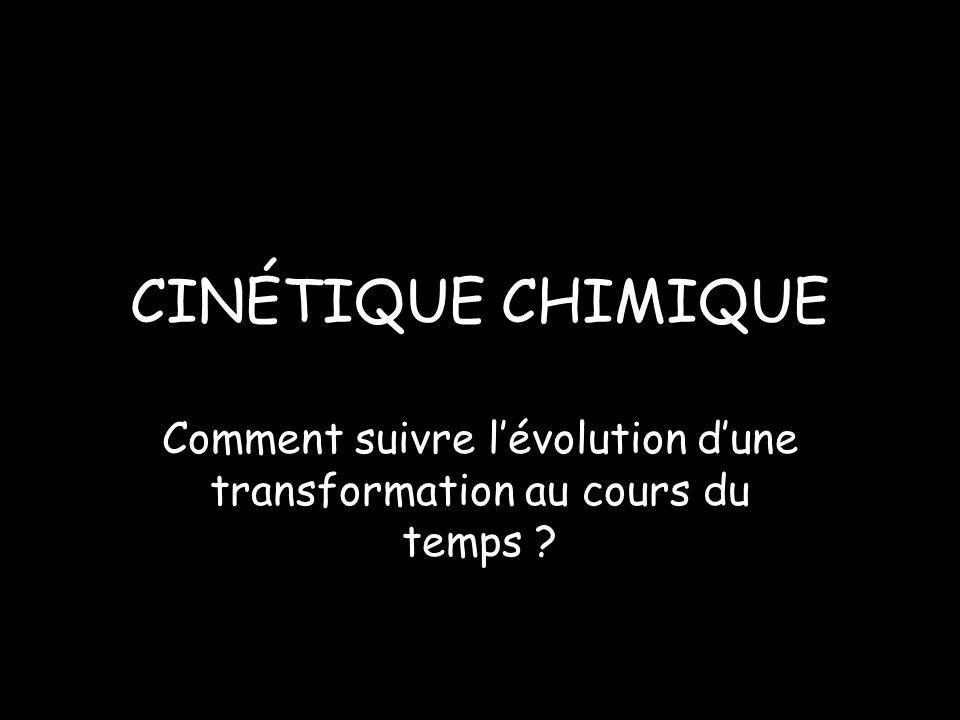 CINÉTIQUE CHIMIQUE Comment suivre lévolution dune transformation au cours du temps ?