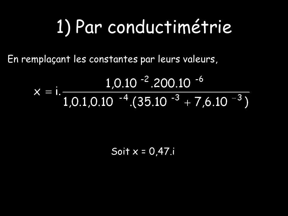 En remplaçant les constantes par leurs valeurs, Soit x = 0,47.i 1) Par conductimétrie