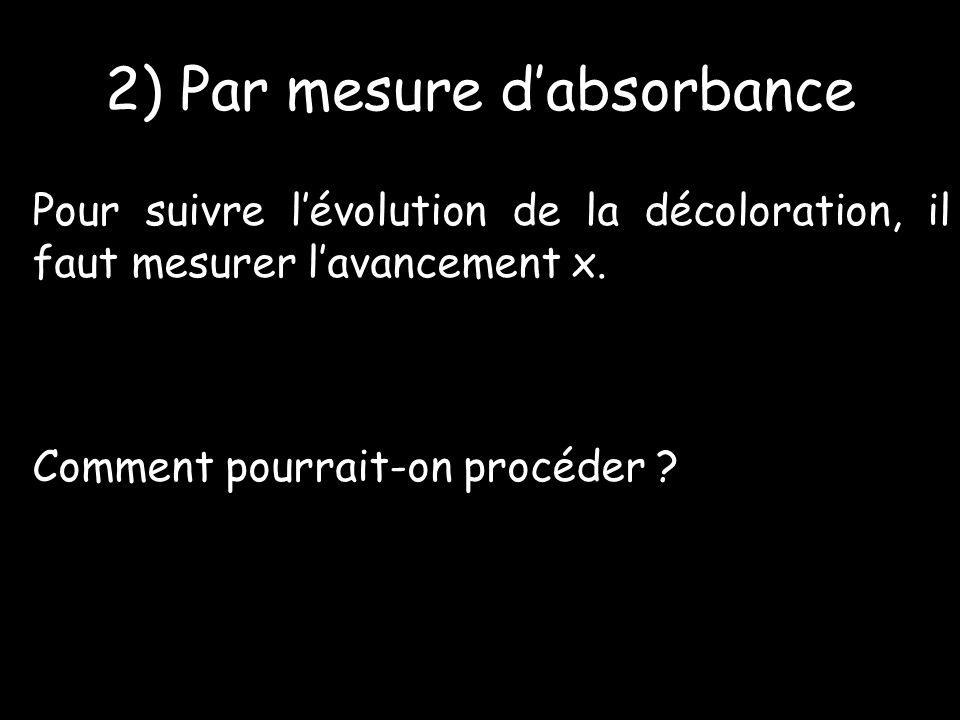 2) Par mesure dabsorbance Pour suivre lévolution de la décoloration, il faut mesurer lavancement x.