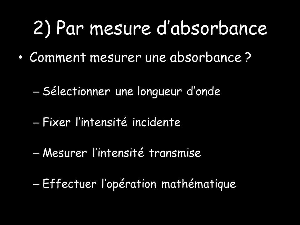 2) Par mesure dabsorbance Comment mesurer une absorbance .