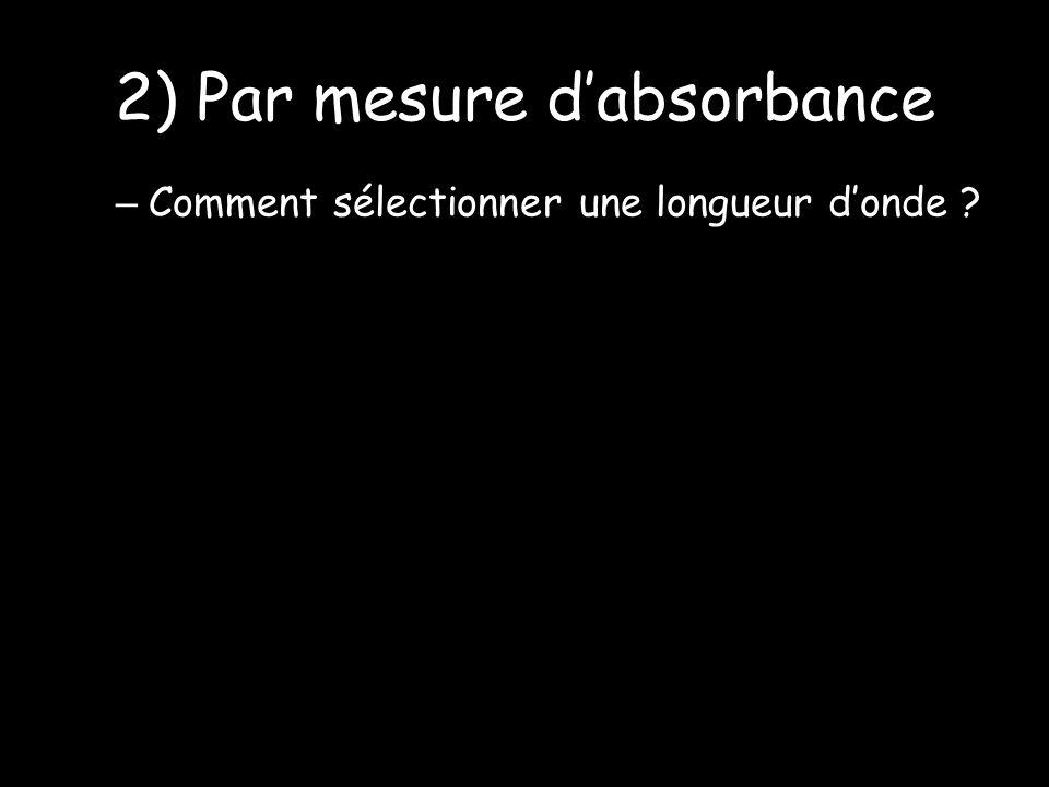 2) Par mesure dabsorbance – Comment sélectionner une longueur donde ?