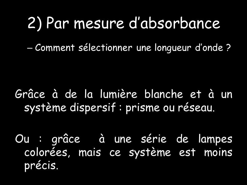 2) Par mesure dabsorbance – Comment sélectionner une longueur donde .