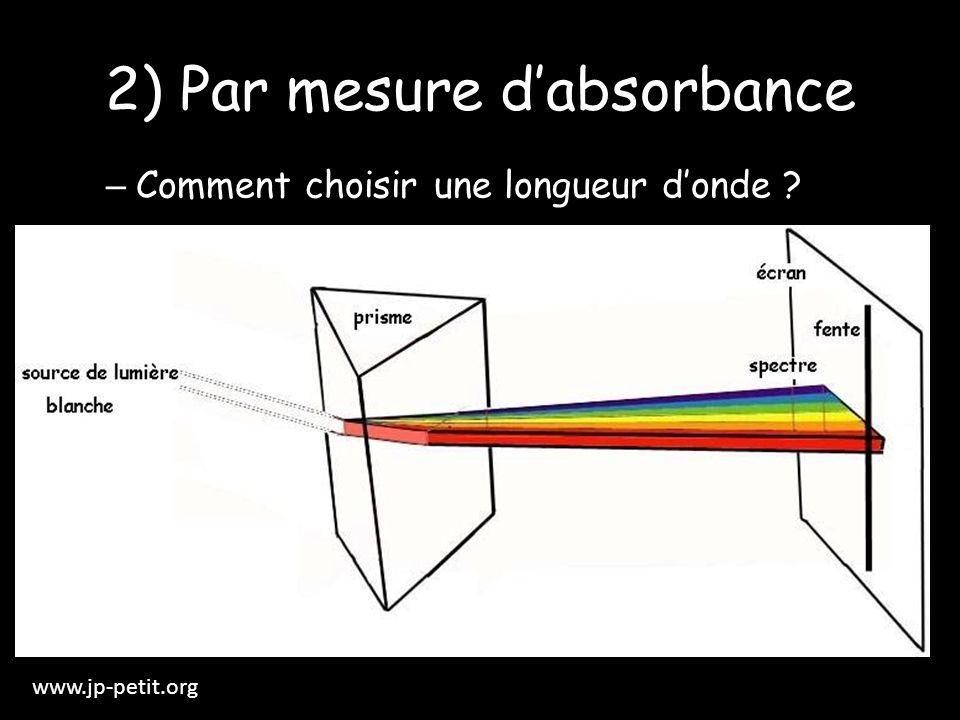 2) Par mesure dabsorbance – Comment choisir une longueur donde ? www.jp-petit.org