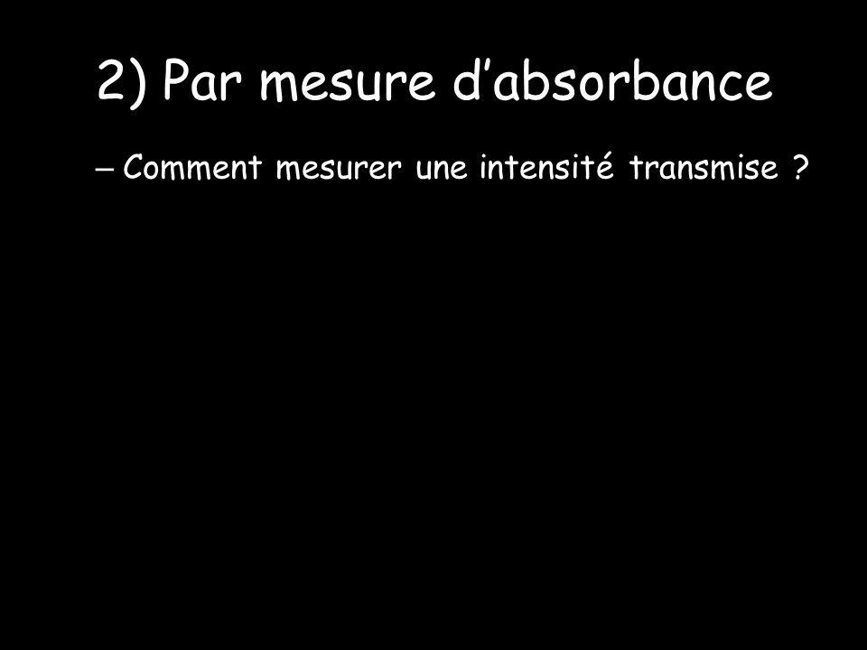 2) Par mesure dabsorbance – Comment mesurer une intensité transmise ?