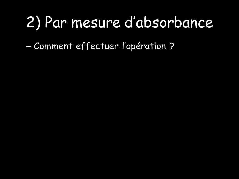 2) Par mesure dabsorbance – Comment effectuer lopération ?