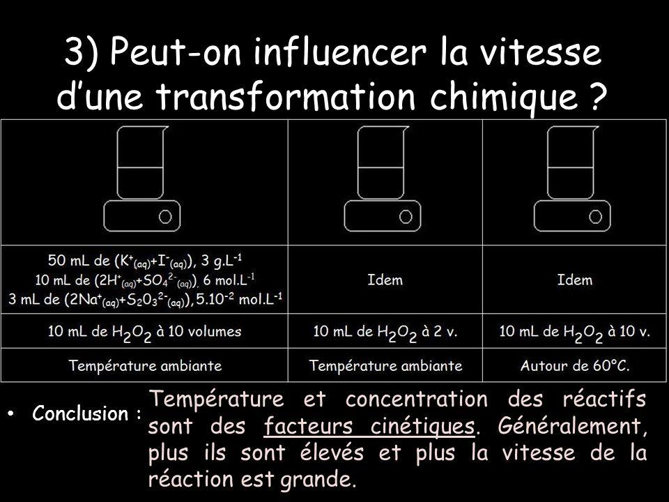 3) Peut-on influencer la vitesse dune transformation chimique .
