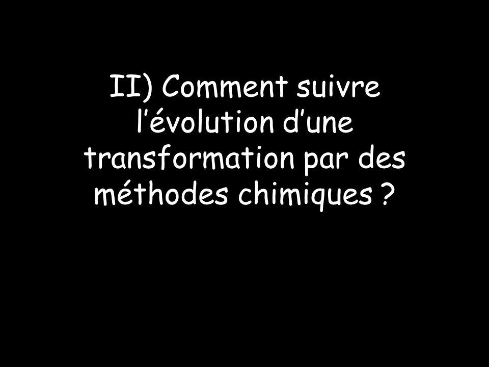 II) Comment suivre lévolution dune transformation par des méthodes chimiques ?
