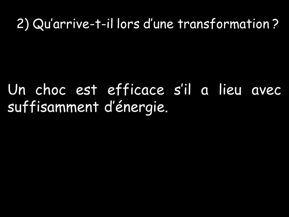 2) Quarrive-t-il lors dune transformation .