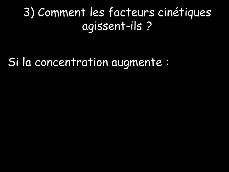 3) Comment les facteurs cinétiques agissent-ils ? Si la concentration augmente :