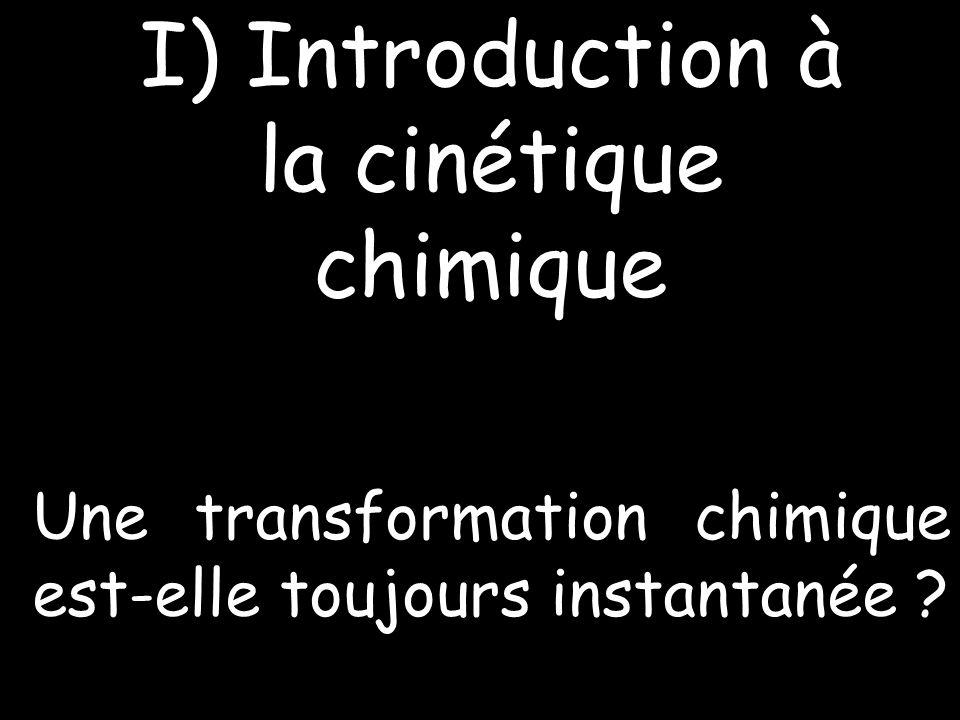 I) Introduction à la cinétique chimique Une transformation chimique est-elle toujours instantanée ?