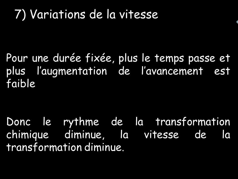 7) Variations de la vitesse Pour une durée fixée, plus le temps passe et plus laugmentation de lavancement est faible Donc le rythme de la transformation chimique diminue, la vitesse de la transformation diminue.