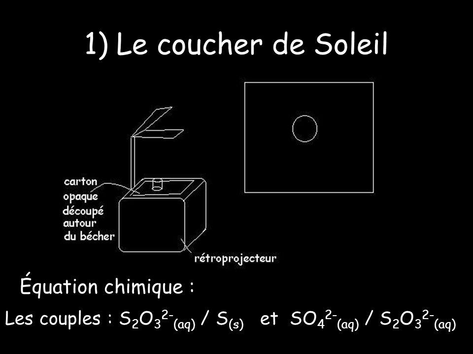 1) Le coucher de Soleil Équation chimique : 3.S 2 O 3 2- (aq) + 2.H + (aq) = 4.S (s) + 2.SO 4 2- (aq) + H 2 O