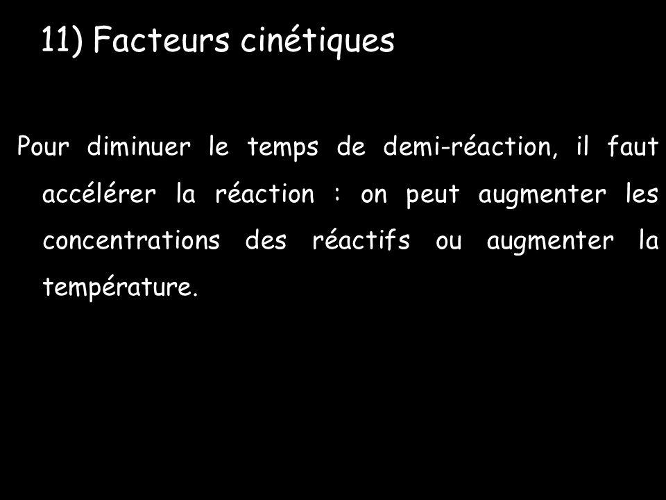 Pour diminuer le temps de demi-réaction, il faut accélérer la réaction : on peut augmenter les concentrations des réactifs ou augmenter la température.
