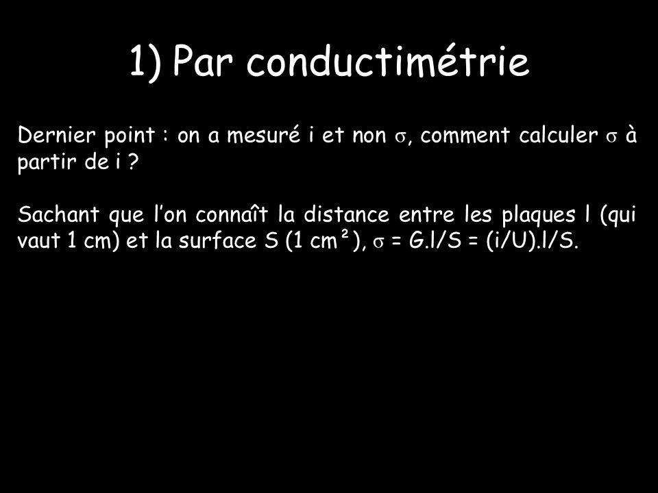 1) Par conductimétrie Dernier point : on a mesuré i et non σ, comment calculer σ à partir de i .