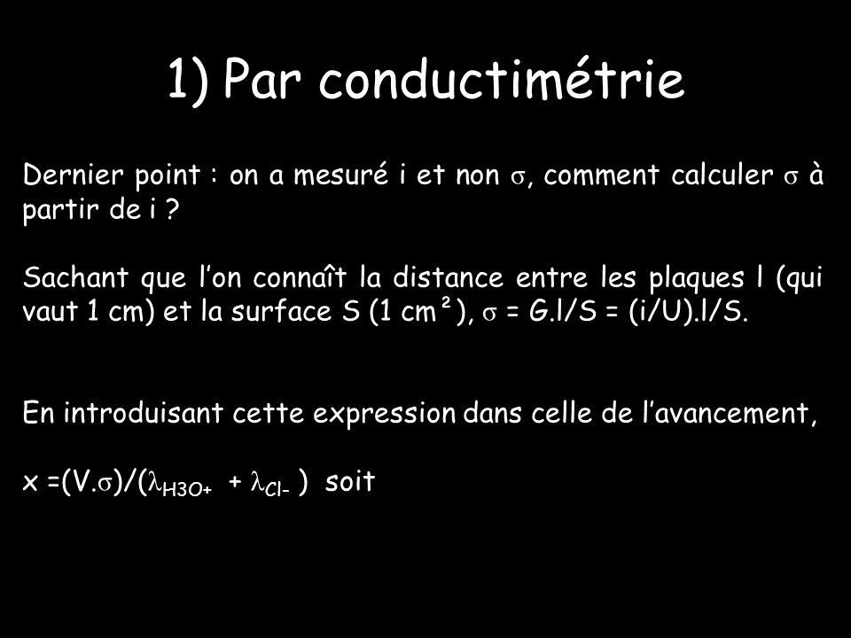 Dernier point : on a mesuré i et non σ, comment calculer σ à partir de i .