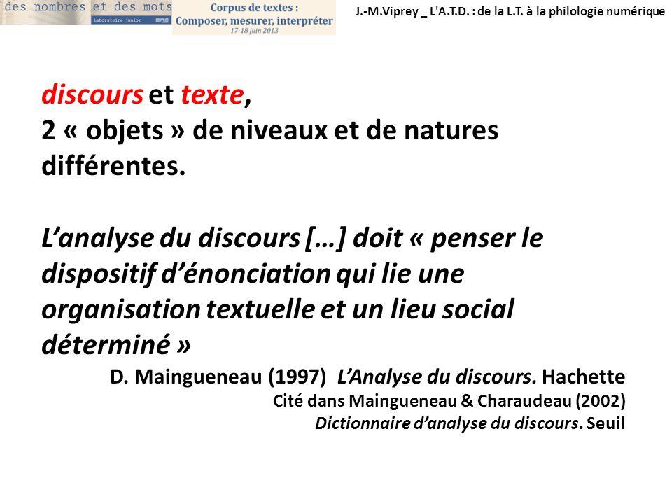J.-M.Viprey _ L'A.T.D. : de la L.T. à la philologie numérique discours et texte, 2 « objets » de niveaux et de natures différentes. Lanalyse du discou