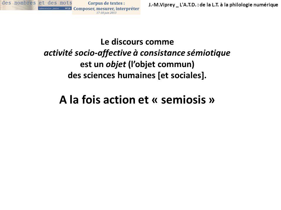 J.-M.Viprey _ L'A.T.D. : de la L.T. à la philologie numérique Le discours comme activité socio-affective à consistance sémiotique est un objet (lobjet