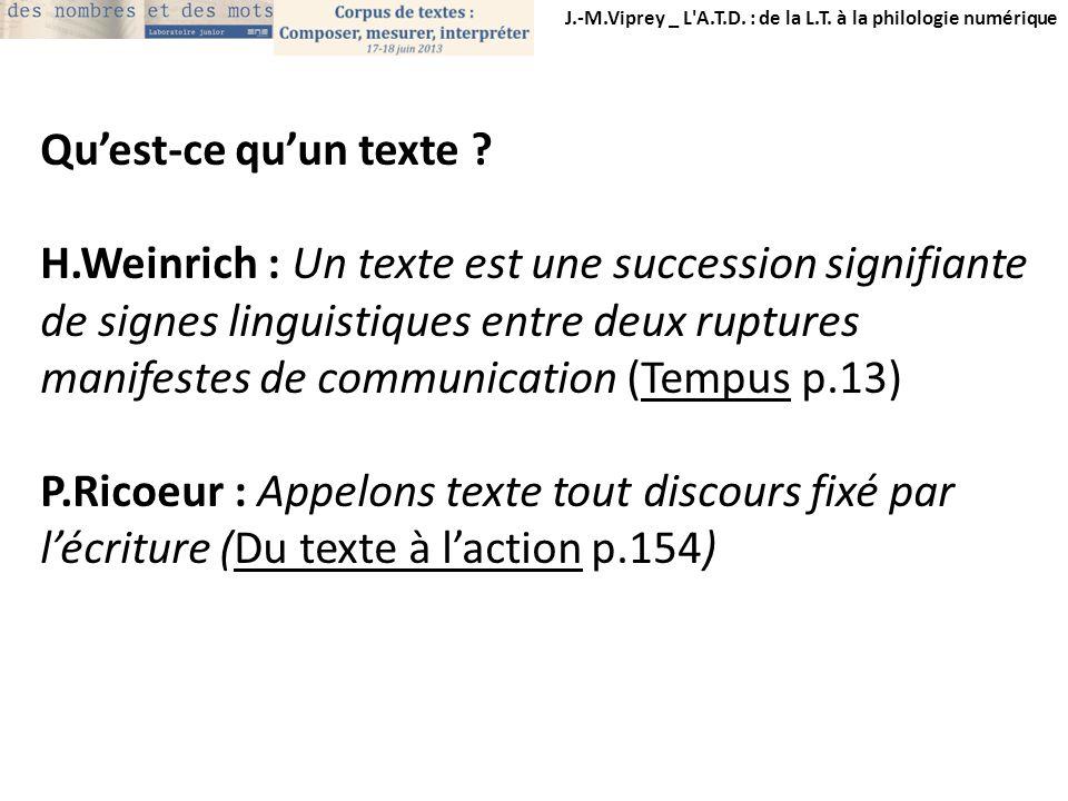 J.-M.Viprey _ L'A.T.D. : de la L.T. à la philologie numérique Quest-ce quun texte ? H.Weinrich : Un texte est une succession signifiante de signes lin