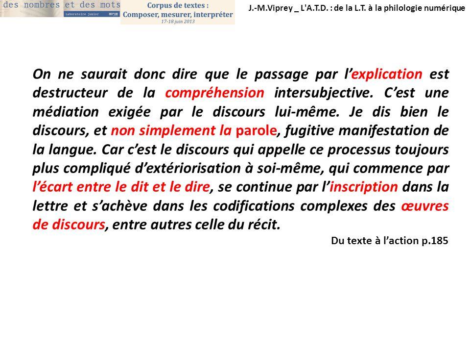 J.-M.Viprey _ L'A.T.D. : de la L.T. à la philologie numérique On ne saurait donc dire que le passage par lexplication est destructeur de la compréhens