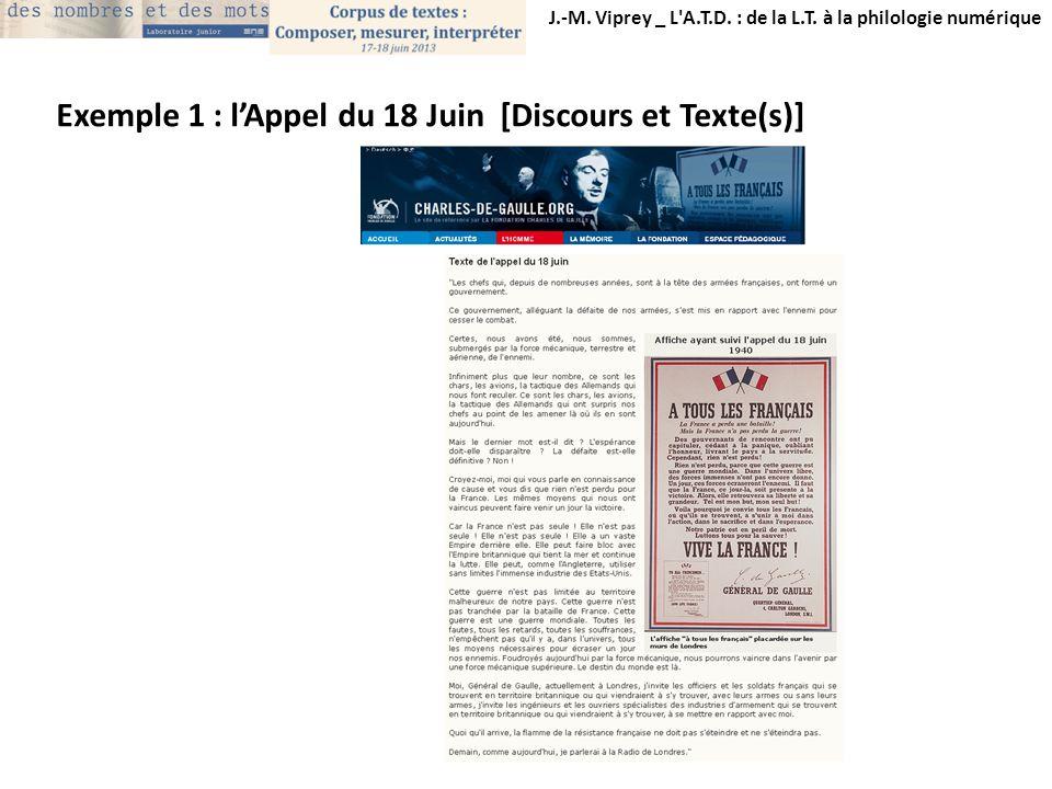 J.-M. Viprey _ L'A.T.D. : de la L.T. à la philologie numérique Exemple 1 : lAppel du 18 Juin [Discours et Texte(s)]