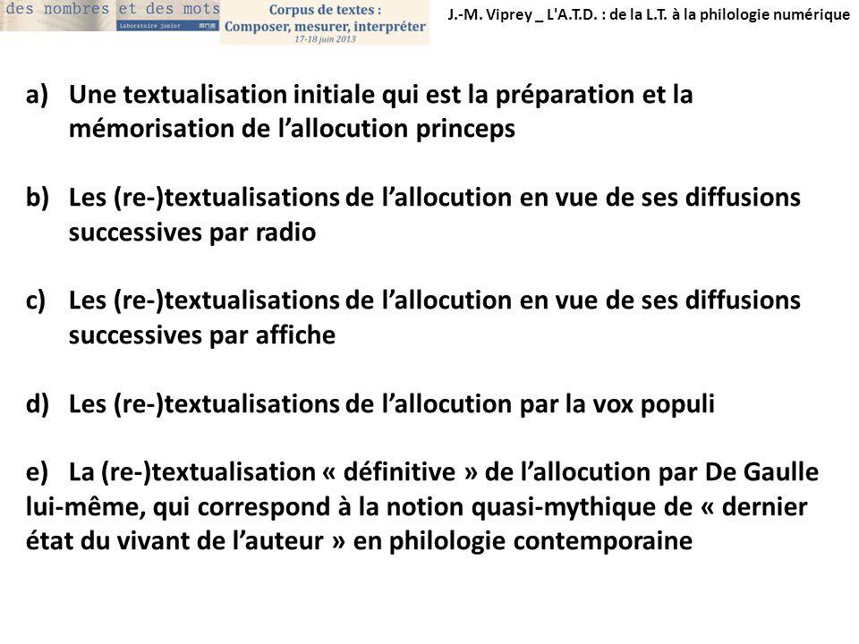 J.-M. Viprey _ L'A.T.D. : de la L.T. à la philologie numérique a)Une textualisation initiale qui est la préparation et la mémorisation de lallocution