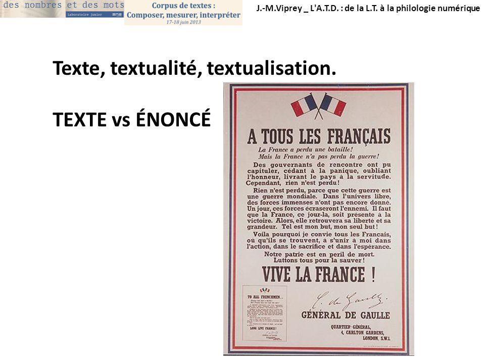 J.-M.Viprey _ L'A.T.D. : de la L.T. à la philologie numérique Texte, textualité, textualisation. TEXTE vs ÉNONCÉ