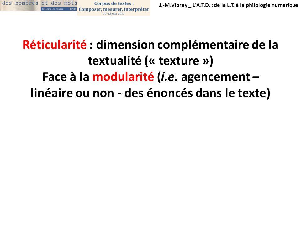J.-M.Viprey _ L'A.T.D. : de la L.T. à la philologie numérique Réticularité : dimension complémentaire de la textualité (« texture ») Face à la modular